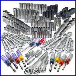 207 Piece Mechanic's Tool Set Inch Mertic w Rugged Impact Sockets +3 Drive Sizes