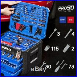 227-Piece Standard (SAE) and Metric Polished Chrome Mechanics Tool Set