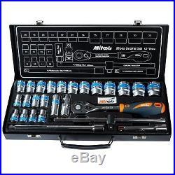 26Pc Ratchet Socket Tool Set Half inch Drive 72Teeth