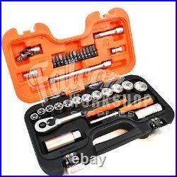 Bahco 34 Piece S330 3/8 Metric/af Socket Set & Ratchet + 1/4 Screwdriver Bits