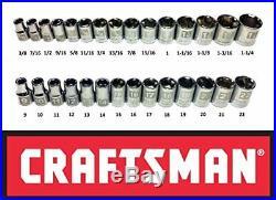 CRAFTSMAN EASY READ 29 pc SAE STANDARD & METRIC MM 1/2 DRIVE 6 POINT SOCKET SET