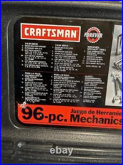 Craftsman 9.33596 Mechanics Tool Set 96 pc Sockets Ratchets Metric SAE Made-USA