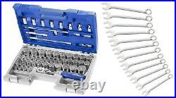 Expert By Facom E032909 1/2Dr 55pc Metric & AF Socket Set & E113242 AF Spanners