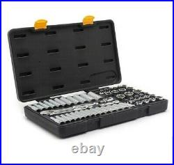 GearWrench 80550P 3/8 Dr SAE/Metric 6pt Standard Deep Socket Set wRatchet 56 Pc