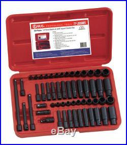 Genius Tools 55 Piece 1/4 Metric & Af Impact Socket Set Tf-255ms