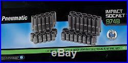 Grey Pneumatic (9748) 1/4 SAE / Metric Standard /Deep 48 pcs Impact Socket Set