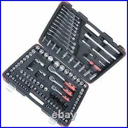 Hilka Heavy Duty 120Pce 1/2 1/4 3/8 Dr Socket Set Chrome Vanadium + Case