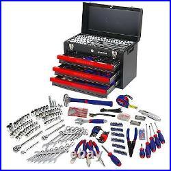 Juego de herramientas mecánicas (3 cajones, caja de metal resistente, 408 piezas)