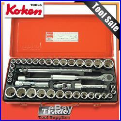 Ko-ken Socket Set 40 Piece 1/2 Dr 12PT AF/Metric 4239AM Koken