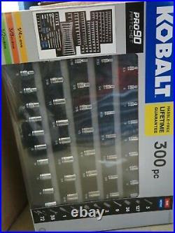 Kobalt 300Pc SAE & Metric Polished Chrome Mechanics Tool Set 0856855 Pro 90 New