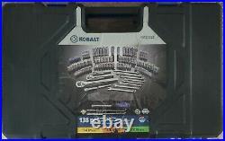 Kobalt 86574 138 pc SAE and Metric Polished Chrome Mechanics Tool Set New