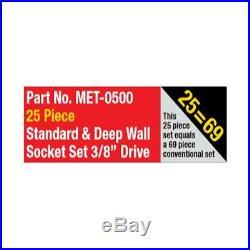 METRINCH Standard and Deep Wall Socket 25pc Set 3/8 Dr