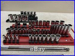 Mac Tools 58 Piece Socket Lot Mint 1/4 3/8 1/2 Drive Deep Shallow Chrome Tool
