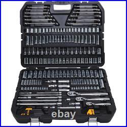 Mechanics Tool Set Low Profile High Torque Ratchet Heavy Duty Chrome 204 Piece