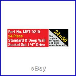 Metrinch 1/4 Dr Socket Standard & Deep Wall Set-24 Pc Metric SAE Worn Nuts