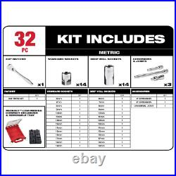 Milwaukee 3/8 in. Drive Metric Ratchet Socket Tool Set with PACKOUT Case 32pcs New