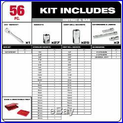 Milwaukee 48-22-9008 56pc 3/8 Metric & SAE Four Flat Socket Set with Ratchet