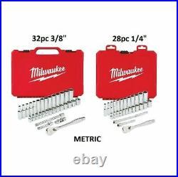 Milwaukee 48-22-9010 1/2 and 48-22-9008 3/8 SAE & Metric Socket Sets + BONUS