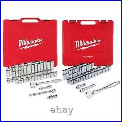 Milwaukee 48-22-9010 47Pc 1/2 and 48-22-9008 56pc 3/8 SAE & Metric Socket Sets