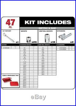 Milwaukee 48-22-9010 47pc 1/2 Metric & SAE Four Flat Socket Set with Ratchet