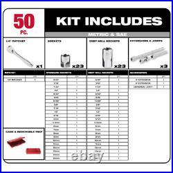 Milwaukee Ratchet Socket Mechanics Set 1/4 3/8 1/2 Drive SAE Metric + BONUS