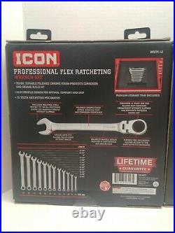 New Icon Flex Ratcheting Wrenchs 12 Piece Metric WRFM-12 8 Piece Standard WRFS-8