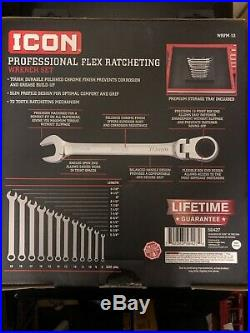 New Icon Professional Flex Ratcheting Wrench Set 12 Piece Metric 8-19mm WRFM-12