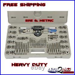 SAE Metric Tap Die Set Motorcycle Boat SUV Standard Screw Extractor Thread Kit