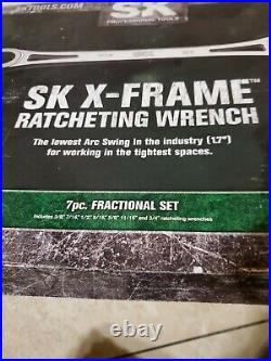 SK Hand Tools 6pt Metric & Standard Combination Chrome X-Frame Wrench Set USA