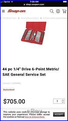Sealed Snap On 44 PIECE 1/4 SOCKET SET METRIC & SAE DEEP & SHALLOW 144TMPB