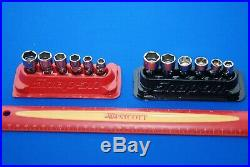 Snap-On 12 Piece 1/4 Drive 6-Point SAE & Metric Shallow Universal Socket Sets