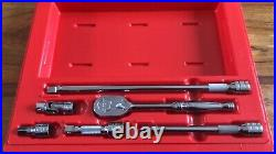 Snap On 3/8 Drive Ratchet Extension And UJ Set In Plastic Carry Case NEW