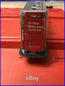 Snap On 3/8 Drive Ratchet Set And Deep Sockets Flank Drive In Carry Case NEW
