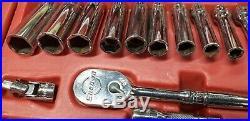 Snap On 44 Piece 1/4 Socket Set Metric & Sae Deep & Shallow Sockets 144tmpb