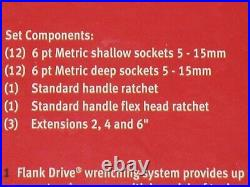 Snap On 58 Pc Metric General Service Sets 3/8 & 1/4 Drive Brand New