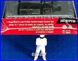 Snap On 7 3/8dr 6pt Metric Low Profile Impact Swivel UJ Socket Set 207RIPFM NEW