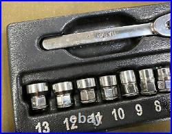 Snap-On (RAT72) 11pc 1/4 Drive 6pt Metric Flank Drive Low-Profile Ratchet Set