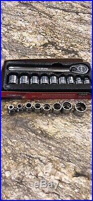 Snap On Tools 3/8 dr Metric Low Profile Ratchet Socket Set SAE 210rafm MINT