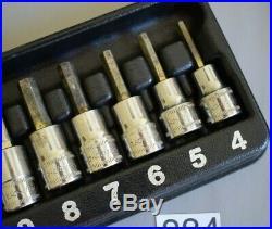 Snap On Tools 7pc 3/8 Drive Hex Allen Key Socket Set rrp £154 (884)