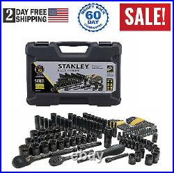 Stanley 123 Piece Mechanics Black Chrome Tool Set Standard SAE MM Hard Case NEW