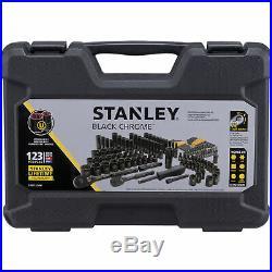 Stanley 123 Piece Mechanics Tool Set Chrome Standard SAE Metric Hard Case Garage