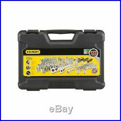 Stanley 123 Piece Mechanics Tool Set Hard Case Standard SAE Metric Black Chrome