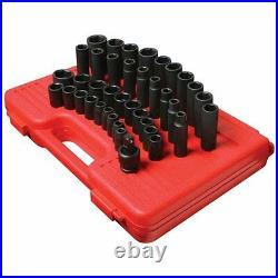 Sunex 2668 39 Piece 1/2 Drive 6 Point Standard And Deep Sae Impact Socket Set