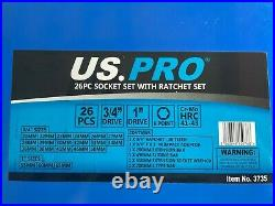 US PRO Tools 26PC 3/4 & 1 Impact Socket Set With Ratchet 21mm-65mm NEW 3735